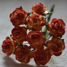 1 cm RED YELLOW Mulberry Paper Roses